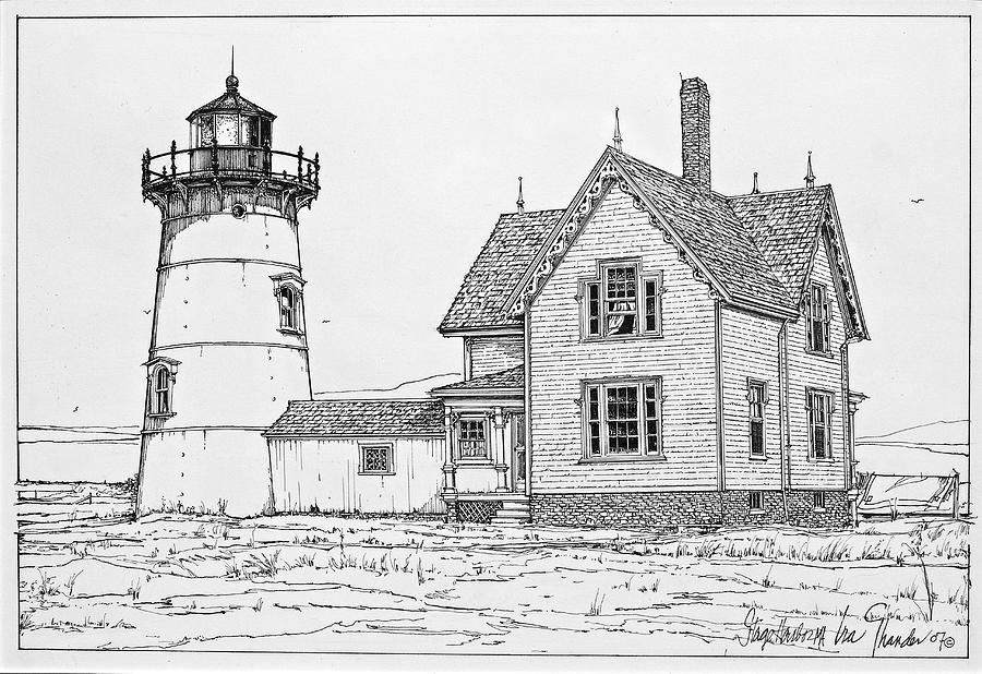 Old Stage Harbor Lighthouse Cape Cod Drawing By Ira Shander