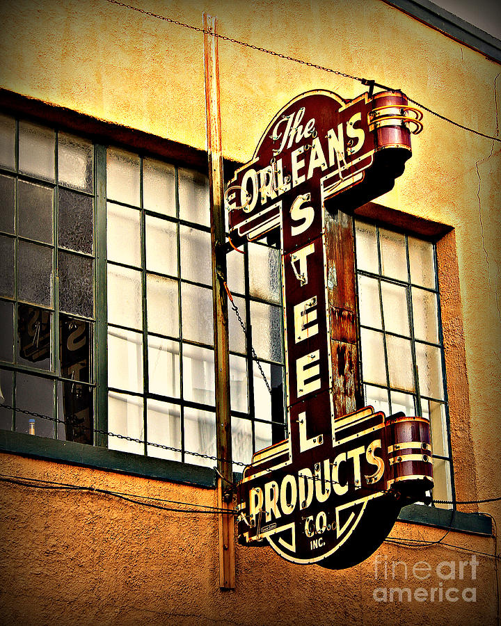 New Orleans Photograph - Old Steel Neon Sign by Perry Webster