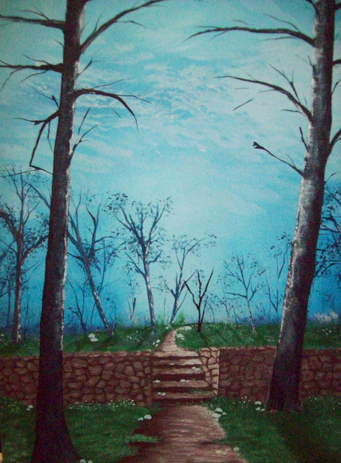 Folk Painting - Old Steps To The Horizon by Susan Michutka