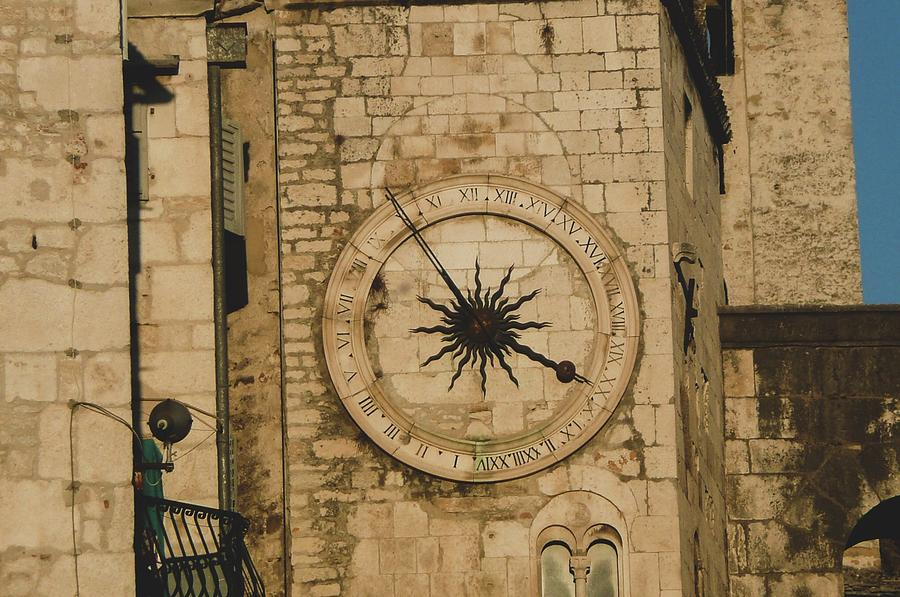 Clock Photograph - Old Stone Wall Clock by Olga Kurygina