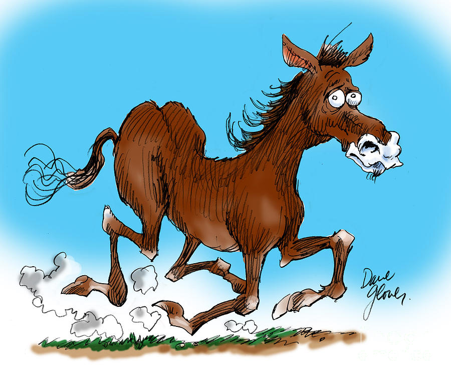 Funny Horse Drawing - Old Swayback by David Lloyd Glover