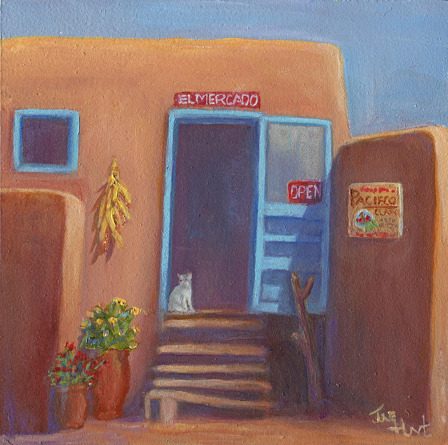 Adobe Painting - Old Taos Grocery by June Hunt