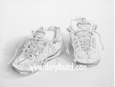 Pencil Drawing Drawing - Old Tennis Shoes by Daryl Budd