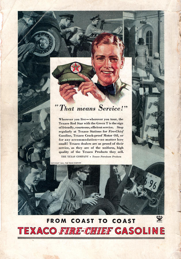 Old Texaco Fire Chief Gasoline Ad by rd Erickson