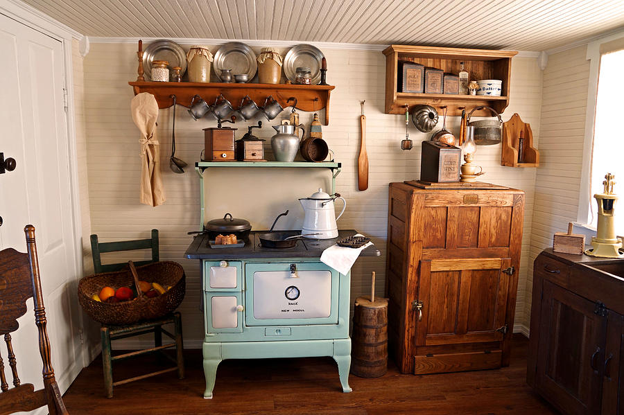 Wooden Ice Box Photograph   Old Time Farmhouse Kitchen By Carmen Del Valle