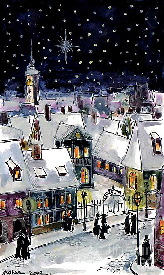 Mona Edulescu Painting - Old Time Winter by Mona Edulesco