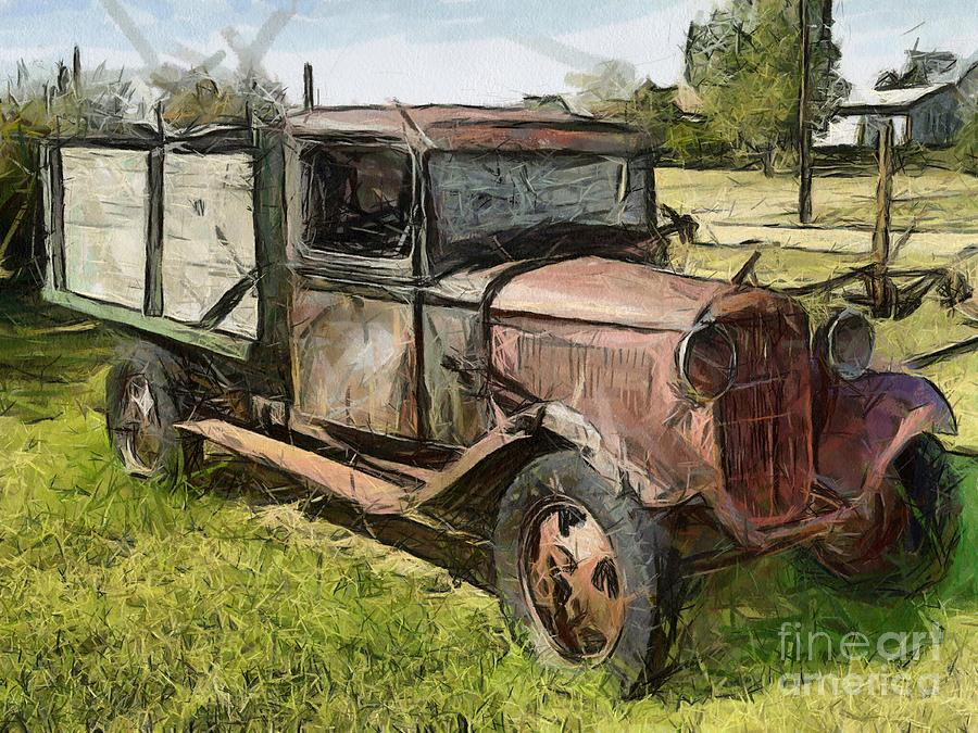 Old Truck Painting - Old Timer by Murphy Elliott