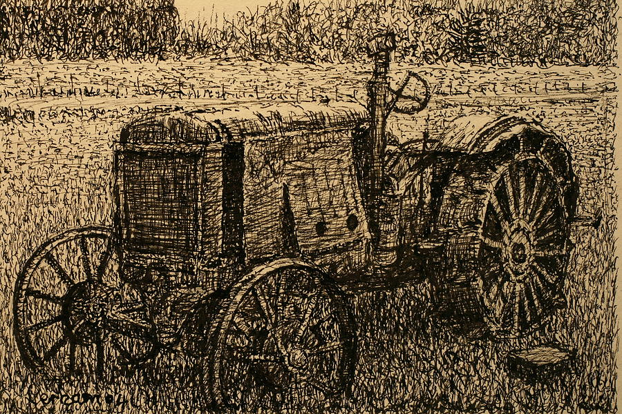 Tractor Drawing - Old Timer by Terry Perham