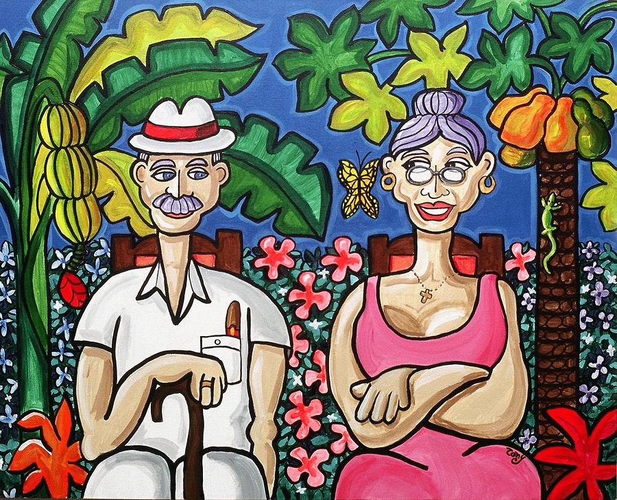 Abuelos Painting - Old Timers In Their Garden by Tony Mendoza