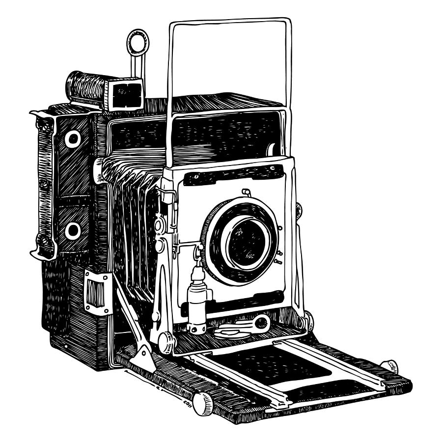 Line Art Camera : Old timey vintage camera drawing by karl addison