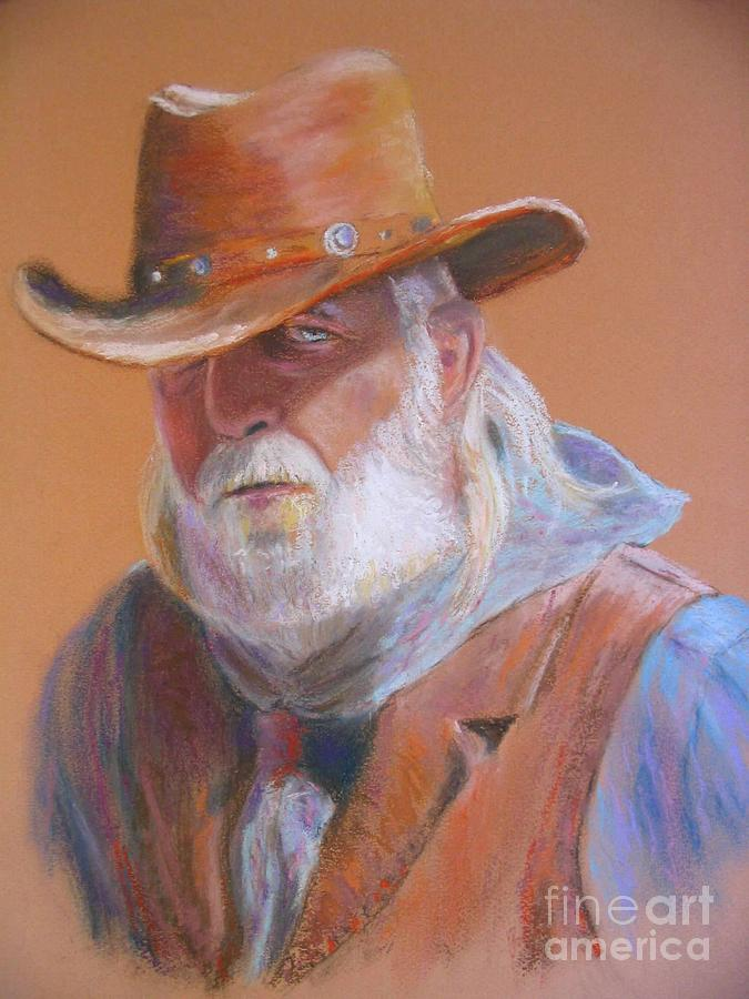 Portrait Painting - Old Tombstone Cowboy by Shirley Leswick