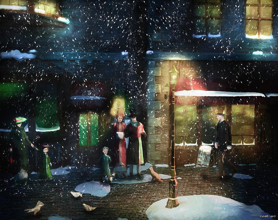 Old Town Christmas Eve Digital Art