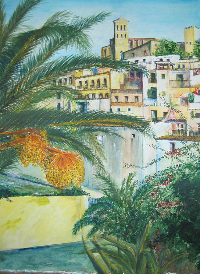 Ibiza Old Town Painting - Old Town Ibiza by Lizzy Forrester
