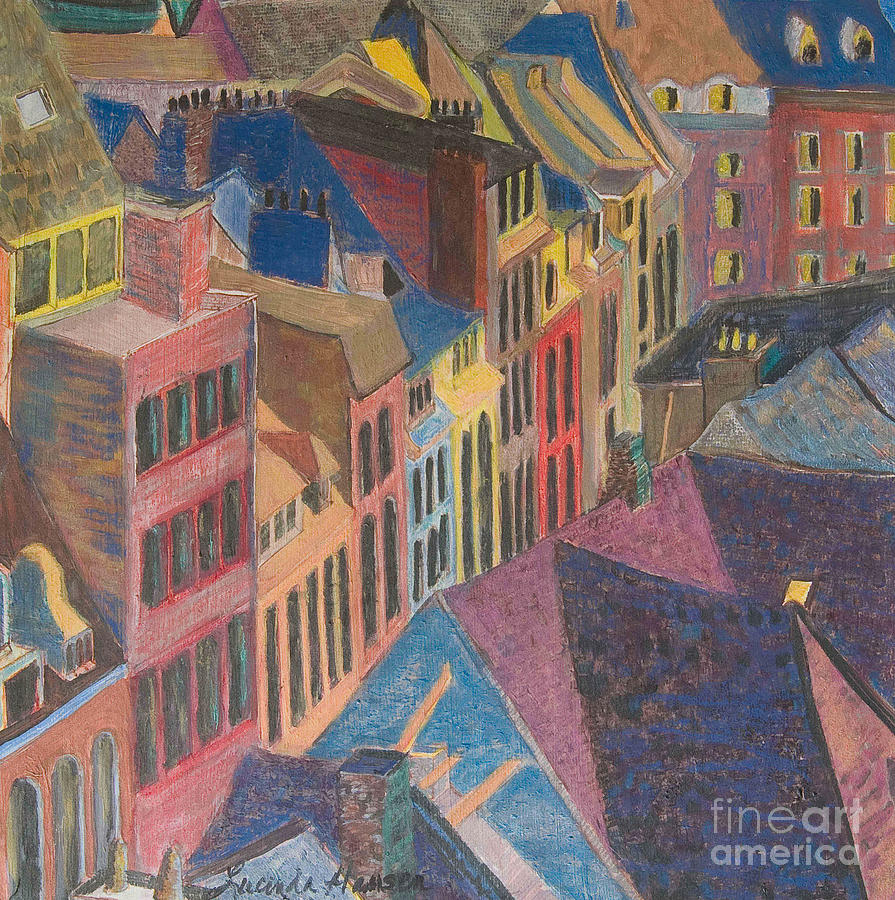 Town Painting - Old Town by Lucinda  Hansen