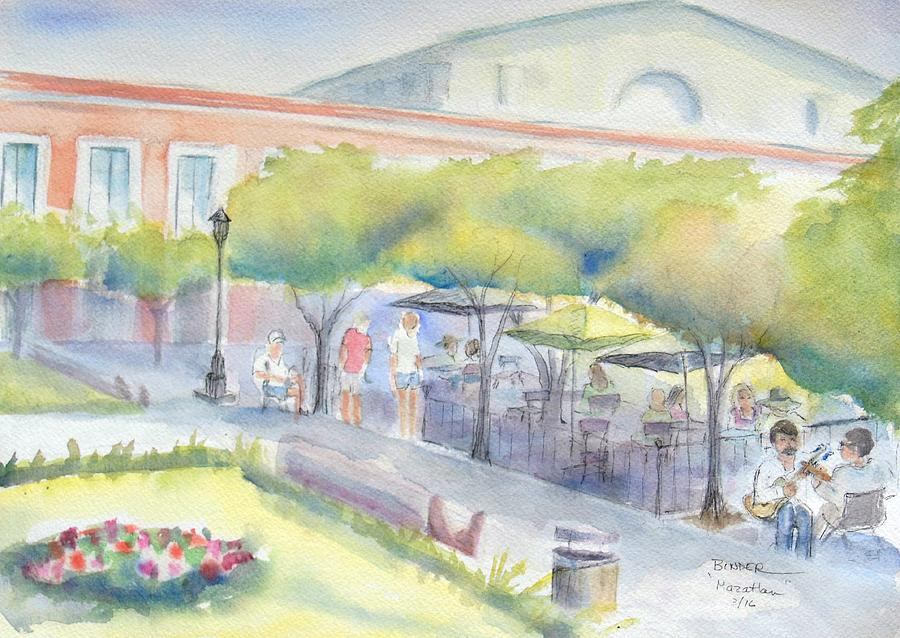 Musicians Painting - Old Town Mazatlan Square where the musicians play, people eat and play. by Diane Binder