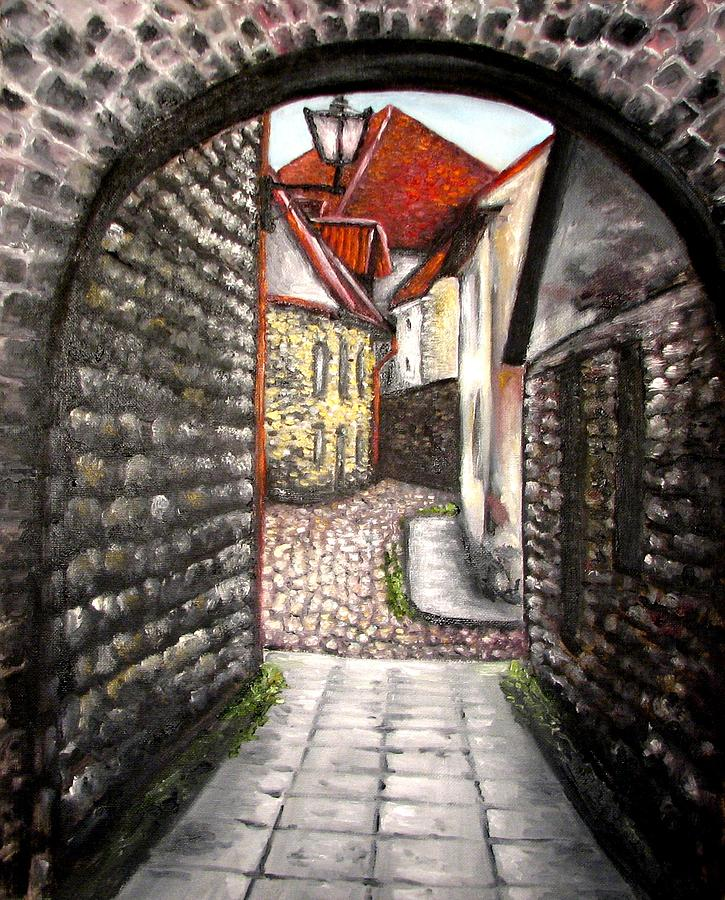 Town Painting - Old Town Oil Paining by Natalja Picugina