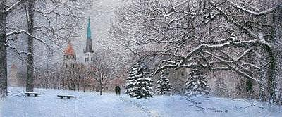 Snow Painting - Old Town Tallinn by Don Duncan