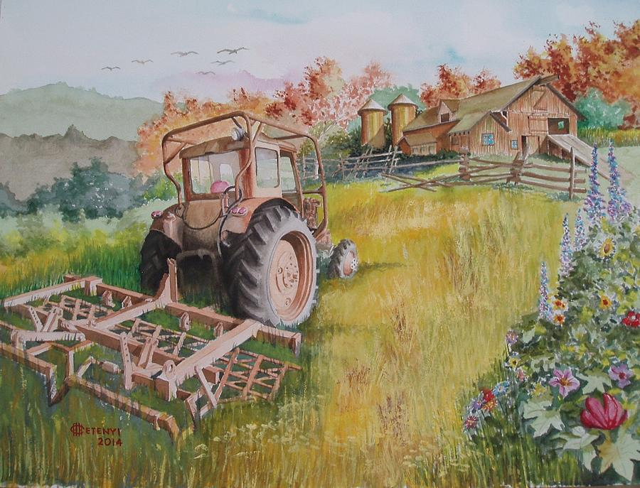 Farm Painting - Old Tractor  by Charles Hetenyi