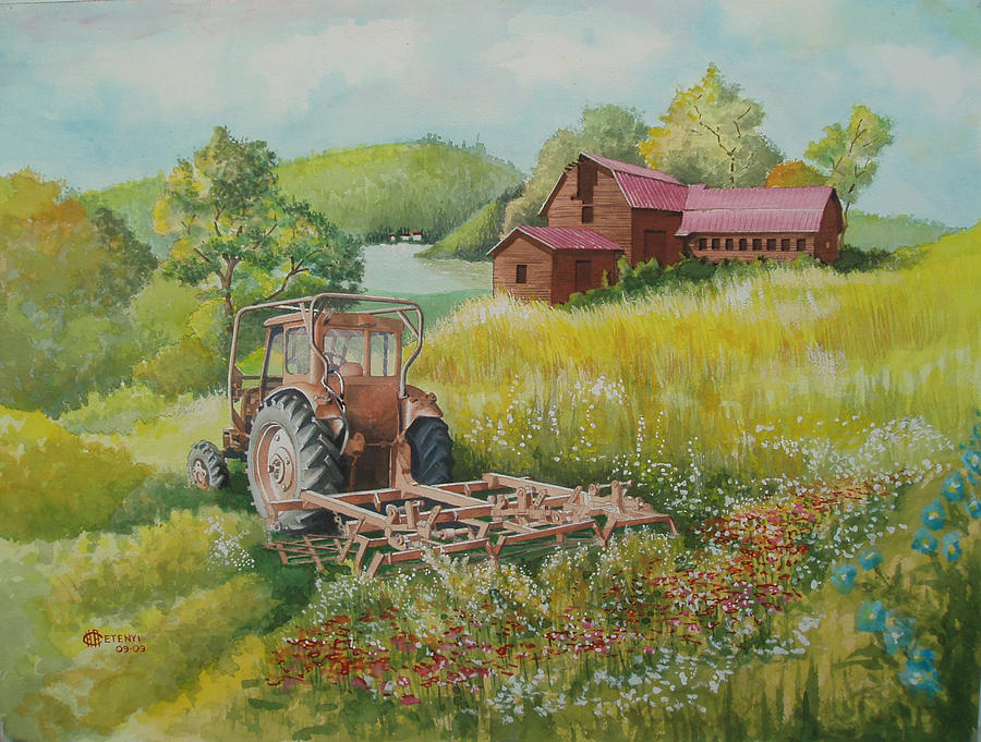 Tractor Painting - Old Tractor In Hungary Galgaguta by Charles Hetenyi
