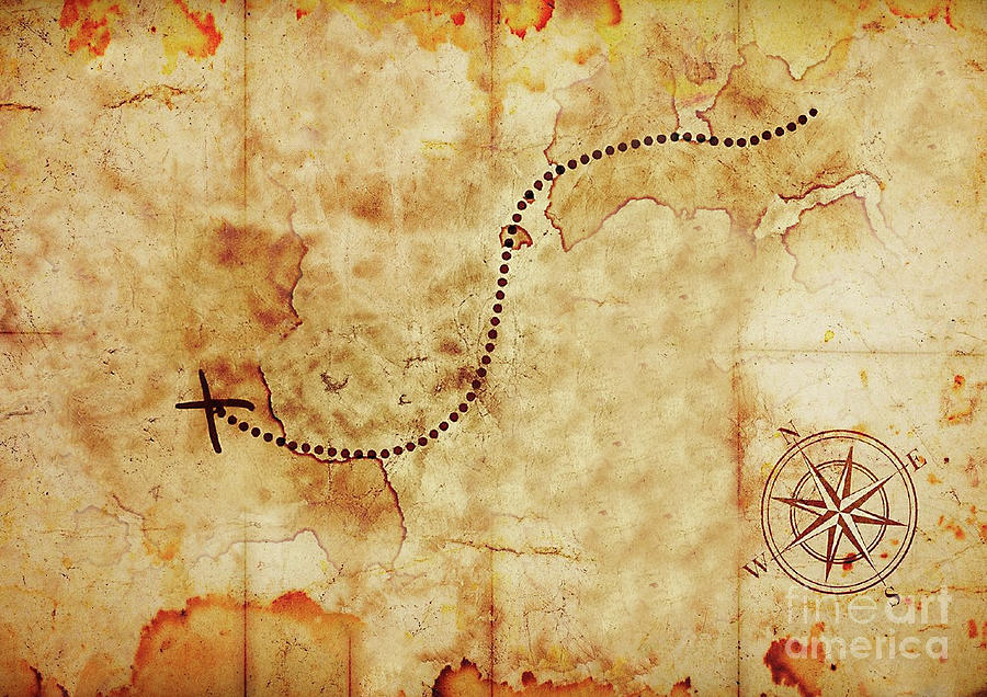 Old Treasure Map Old Treasure Map Mixed Media by Aida Ghajar