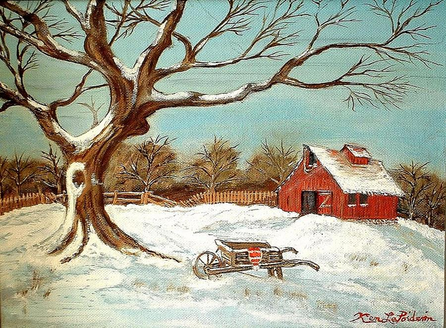 Old Tree And Barn Painting by Kenneth LePoidevin
