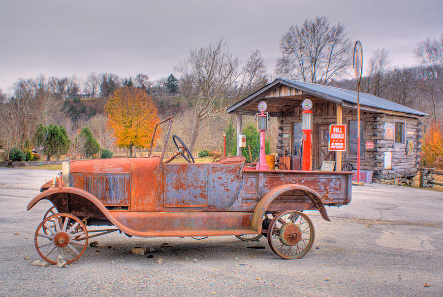 Old Photograph - Old Truck And Gas Filling Station by Douglas Barnett