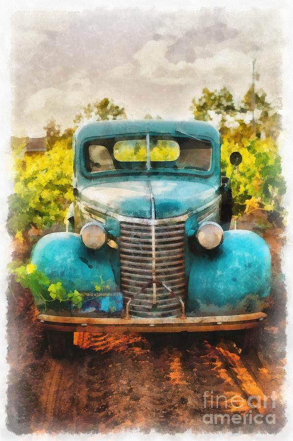 Wine Painting - Old Truck At The Winery by Edward Fielding