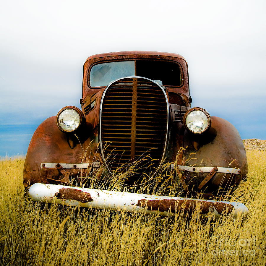 Old Truck Photograph - Old Truck In Field by Emilio Lovisa