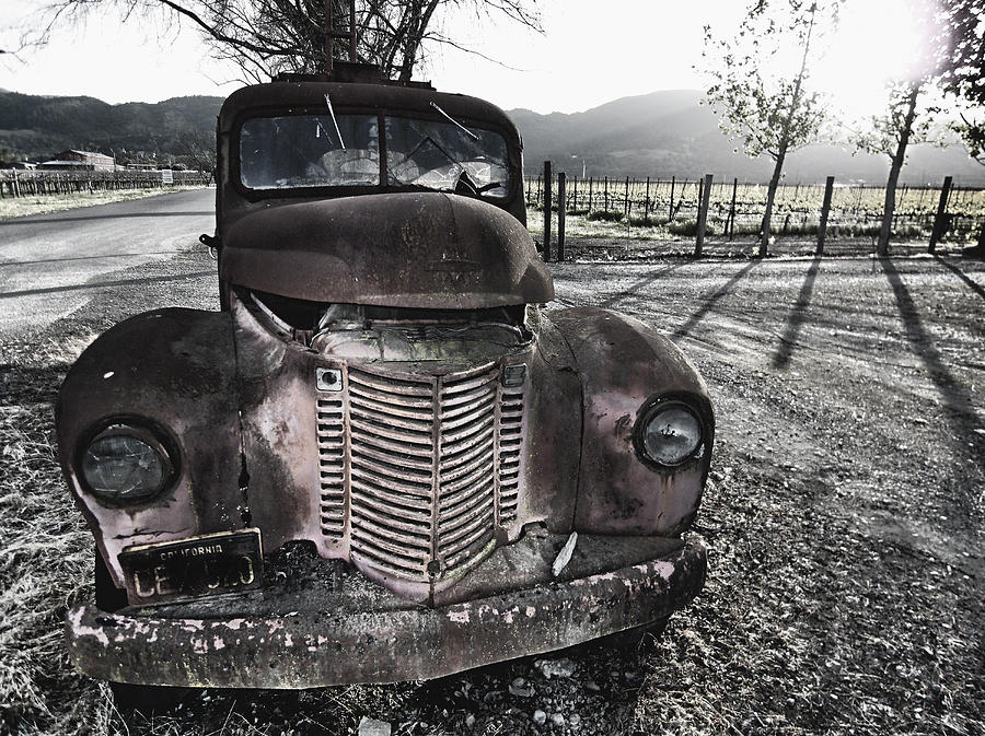 Abandoned Photograph - Old Truck In Napa Valley by George Oze