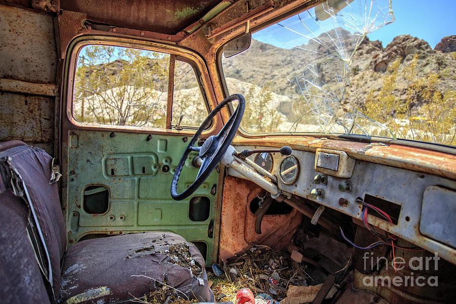 Truck Photograph - Old Truck Interior Nevada Desert by Edward Fielding
