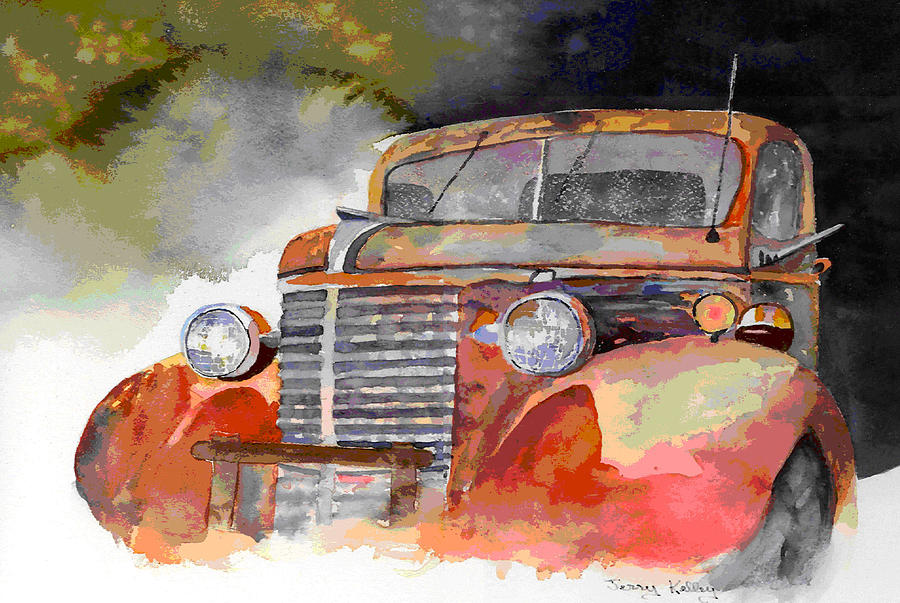 Truck Painting - Old Truck by Jerry Kelley