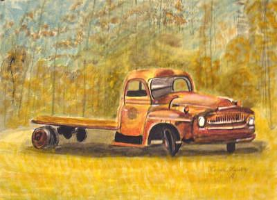 Original Painting - Old Truck by Lenore Lowery