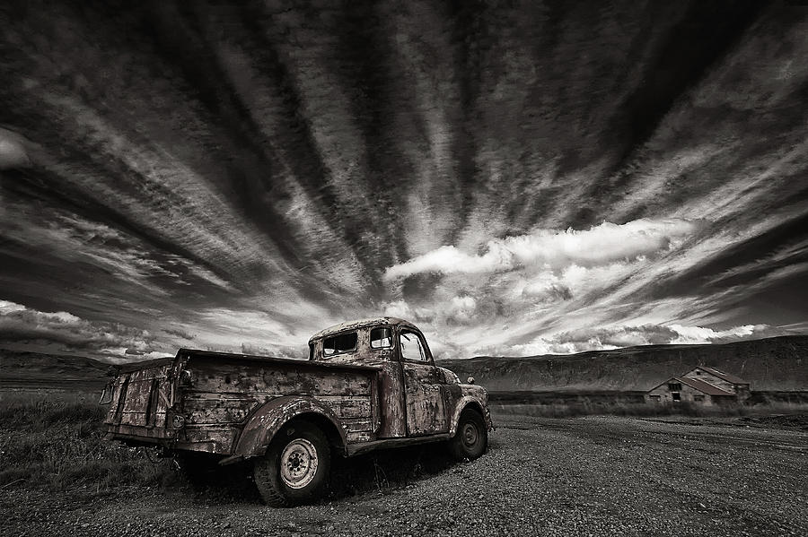 Truck Photograph - Old Truck (mono) by Thorsteinn H. Ingibergsson
