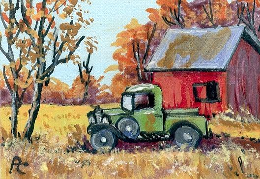 Miniature Painting - Old Truck by Peggy Conyers