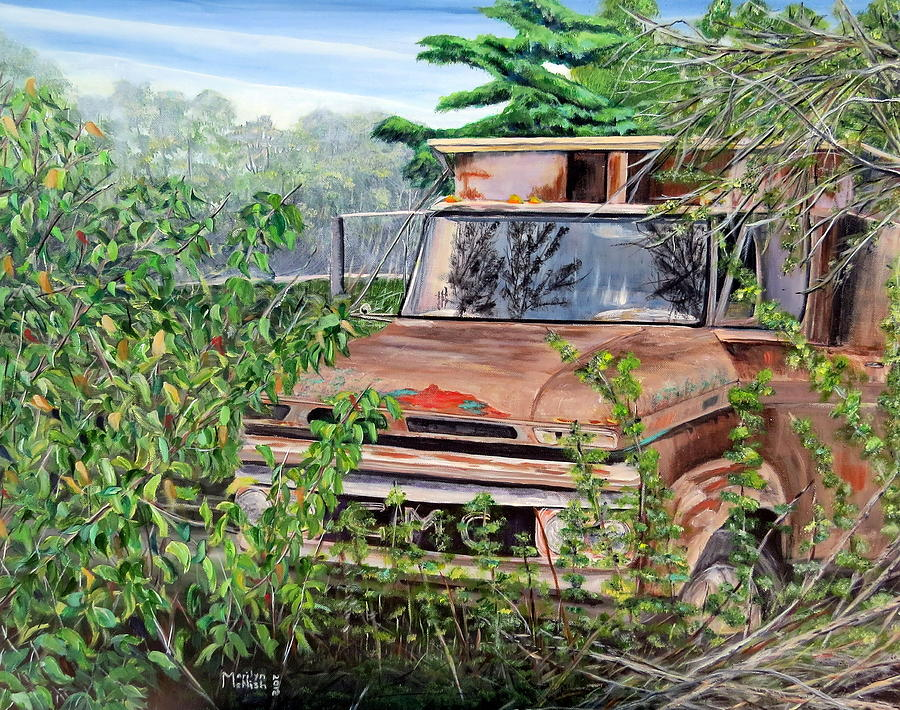 Old Truck Painting - Old Truck Rusting by Marilyn  McNish