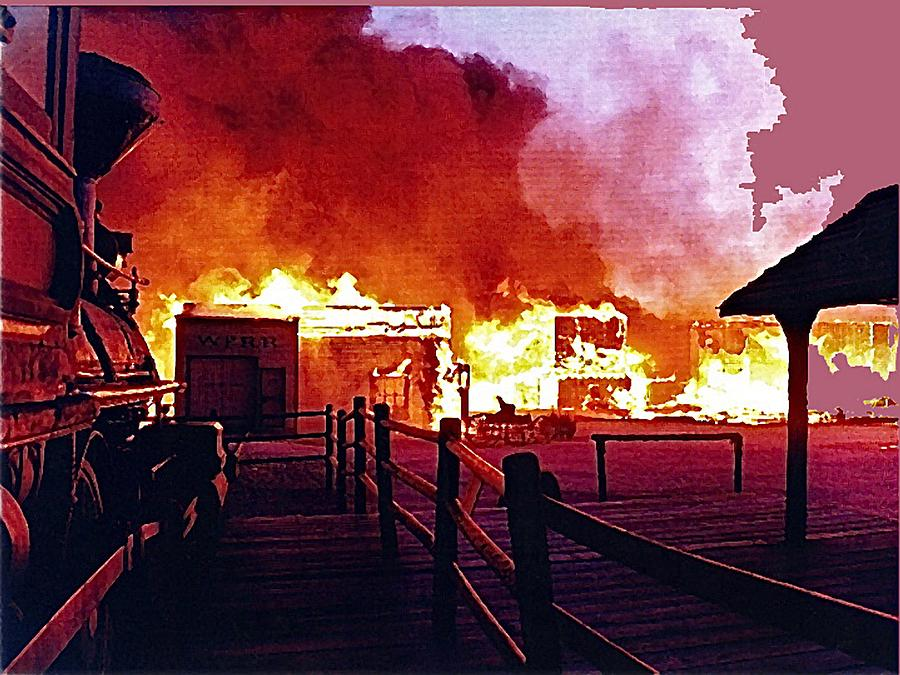 Old Tucson Arizona In Flames 1995  Photograph by David Lee Guss