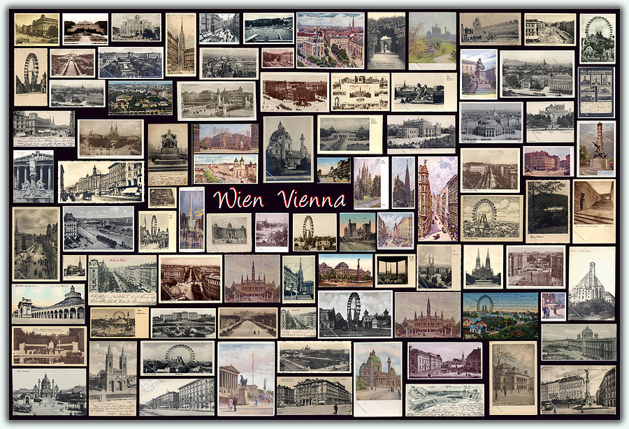 Wien Pyrography - Old Vienna Collage by Janos Kovac