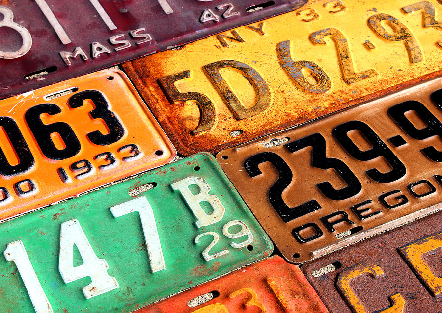 Old Vintage License Plates Number 3 Mixed Media by Design Turnpike
