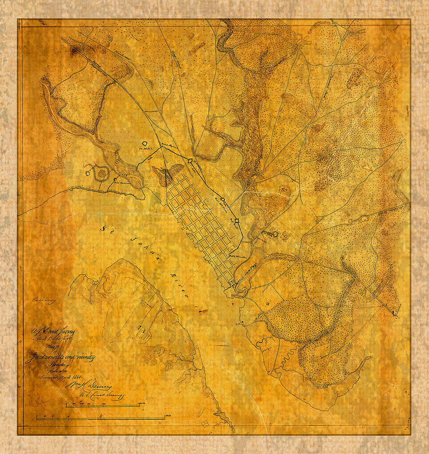 Old Vintage Map Of Jacksonville Florida Circa Civil War On - Rustic map of the us in the civil war