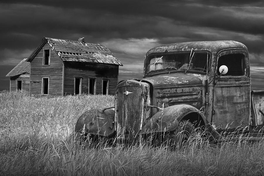 Landscape Photograph - Old Vintage Pickup In Black And White By An Abandoned Farm House by Randall Nyhof