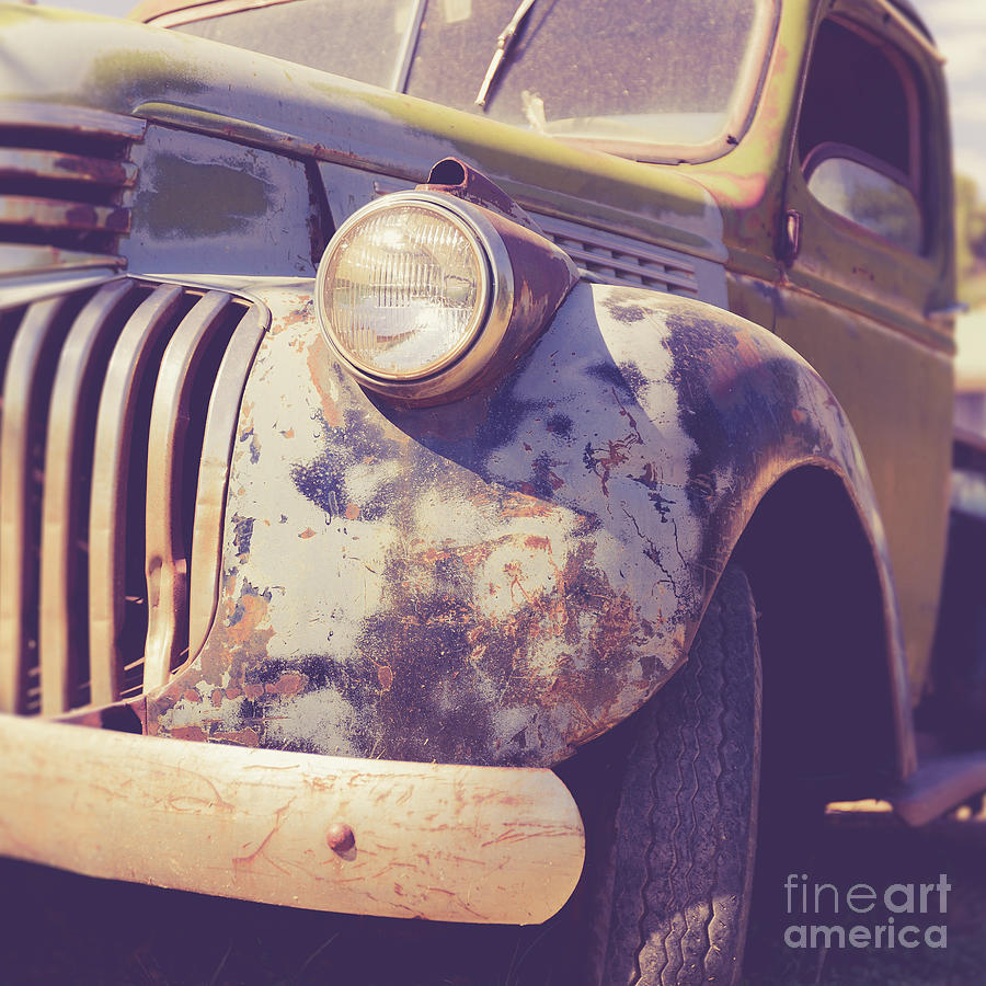 Country Photograph - Old Vintage Pickup Truck Utah Square by Edward Fielding