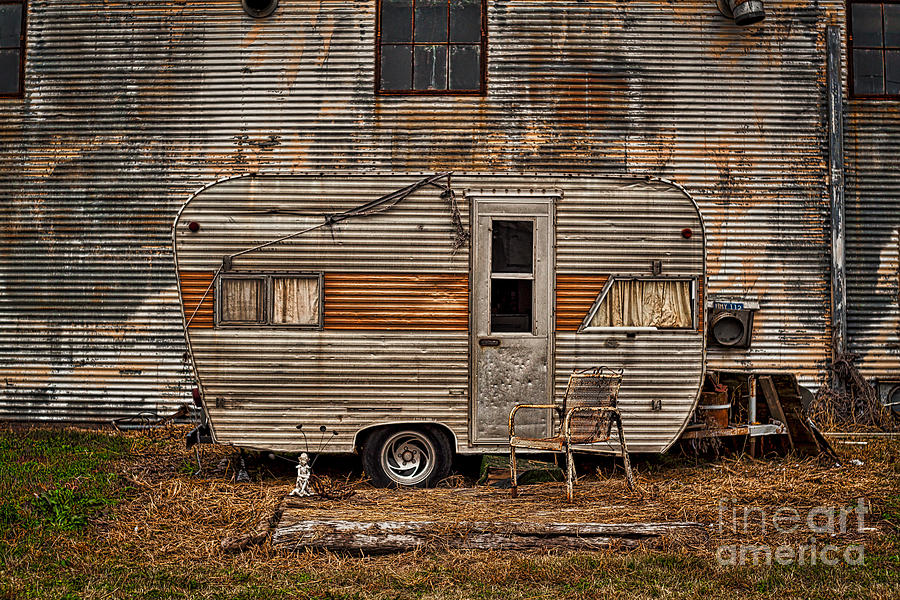 Old Vintage RV Camper in the Mississippi Delta by T Lowry Wilson