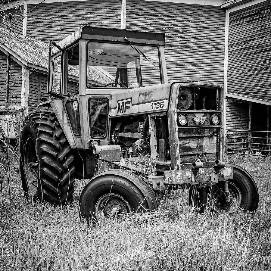 Barn Photograph - Old Vintage Tractor On A Farm In New Hampshire Square by Edward Fielding