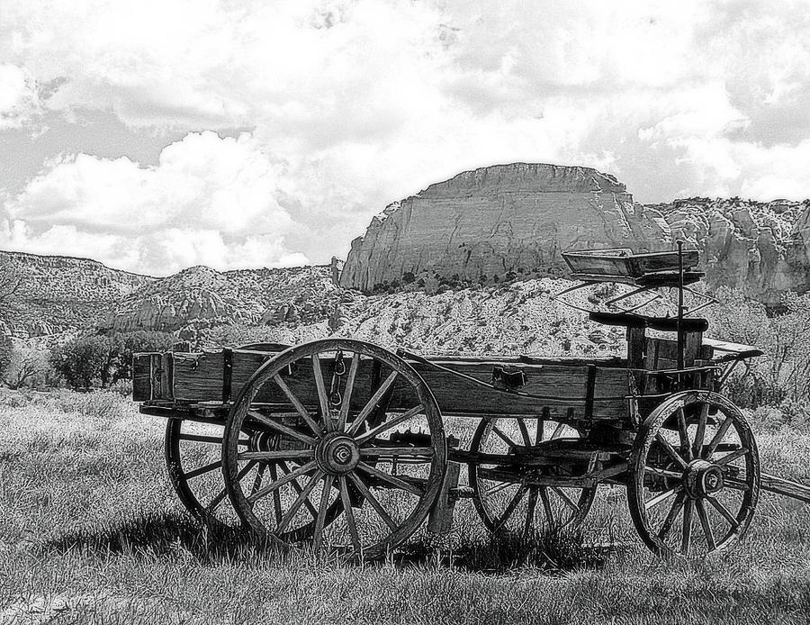 old wagon at ghost ranch in black and white photograph by toni abdnour