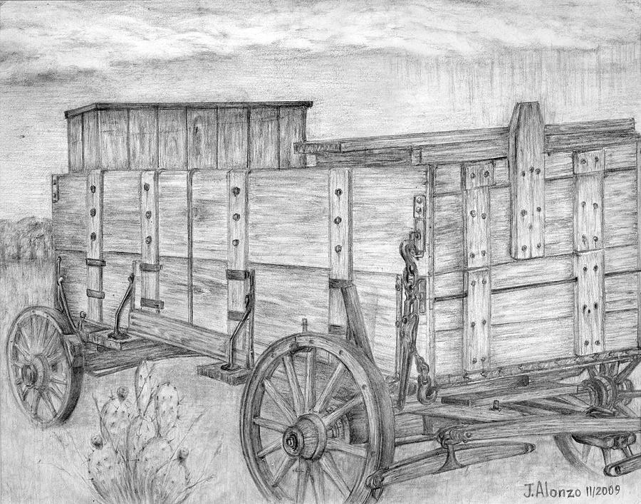 Old Wagon Drawing by Jesse Alonzo