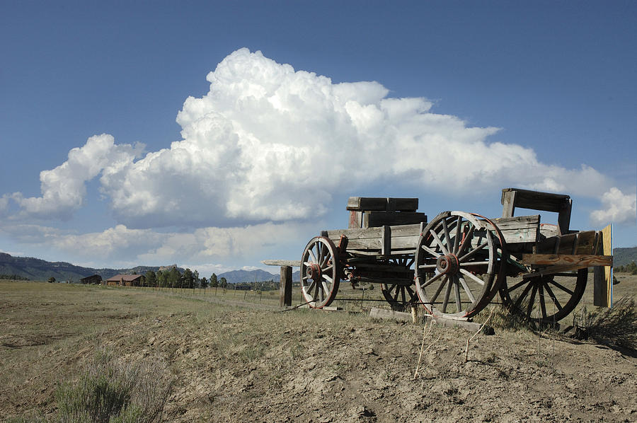 Wagon Photograph - Old Wagon Out West by Jerry McElroy
