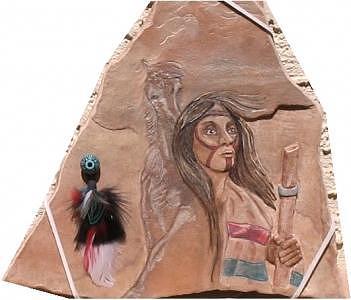 Native American Warrior Relief - Old Warrior by Margaret A Clark Price