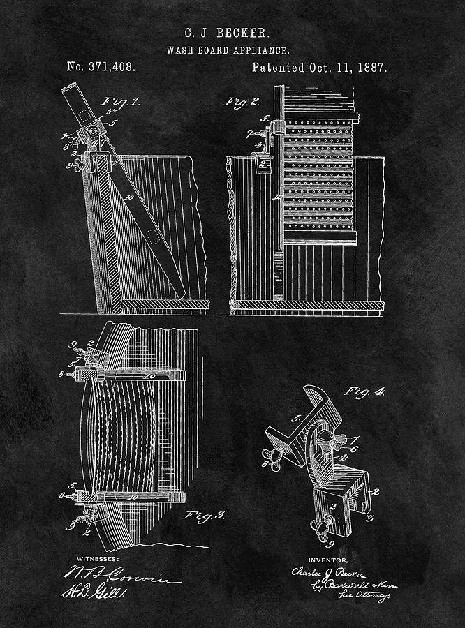 Old Washboard Patent Drawing