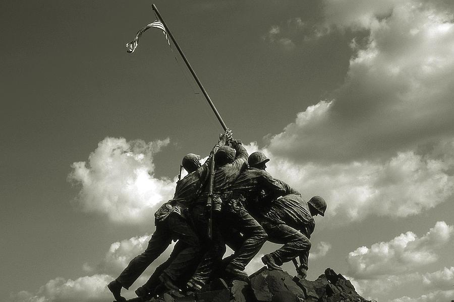 Washington Photograph - Old Washington Photo - Iwo Jima War Memorial by Peter Potter
