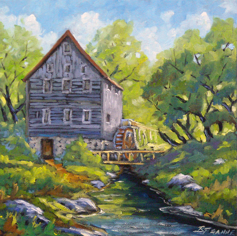 Old Watermill Painting By Richard T Pranke